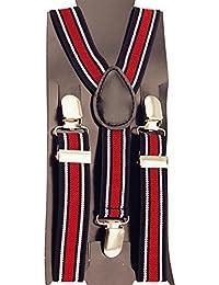 Vococal® Bretelles Pince Clip Accolades Y-Dos Réglables Élastiques pour Enfant Kid Noir + Rouge