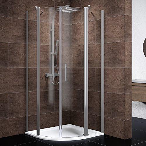 Preisvergleich Produktbild Schulte Duschkabine 90x90 Viertelkreis Radius 550 Glas mit Glassversieglung Chrom Lazio, 1 Stück, 4056397002390