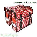 Fahrrad Gepäckträgertasche Seitentasche o. Doppeltasche 4 Farben Punkte 01170425 (Doppeltasche Rot)