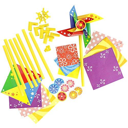 com-four® 2X Windrad Bastelset, für Kinder und Erwachsene, Lassen Sie Ihrer Kreativität freien Lauf (2 Stück)