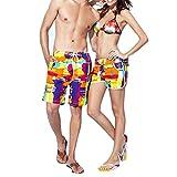 CHIC-CHIC Homme Femme Maillot de Bain Short Pant Court de Sport/ Plage/ Beach Bermudas Imprimé Floral