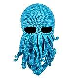 Baoblaze Lustige Strickmütze Bartmütze Stickmütze Häkeln Wollmütze Windschutz Mütze Maske Gesichtsmaske - Blau