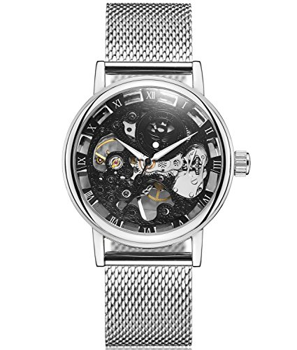 SEWOR Mens Hollow Skeleton Carving Mechanical Hand Wind Wrist Watch with Mesh Band (Silver Black)