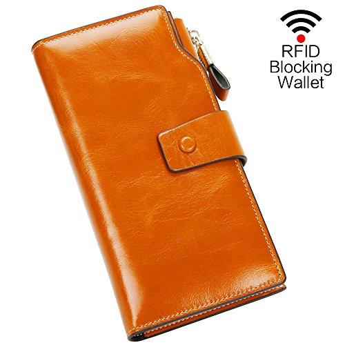 Geldbörse Damen echtes Leder Portemonnaie Damen Luxus Geldbörse mit 21 Kartenfächer RFID Schutz...