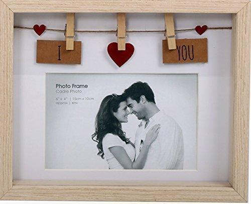 Marco fotos 'I Love You' 15 cm x 10 cm caja madera