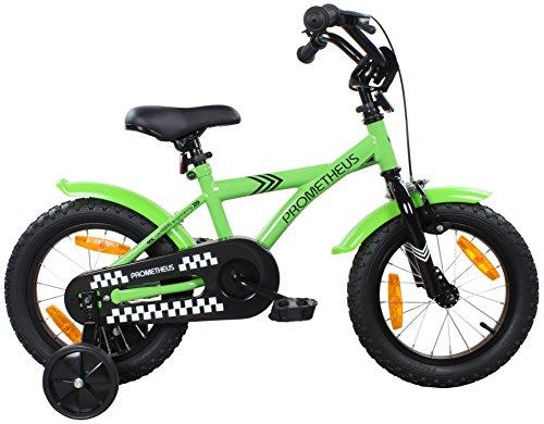 PROMETHEUS-Premium-Vlo-pour-enfants--partir-denv-3-4-Edition-Classic-14-Pouces-Couleur-Vert-Noir