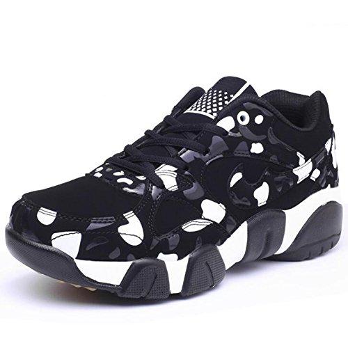 GESIMEI Respirant Fonctionnement Baskets Décontractée Couleur Bloc Couple Chaussures pour Hommes/ Les adolescents (Veuillez vérifier le tableau des tailles sous l'image principale) Blanc