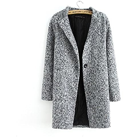 ZZHH Trench CoatPied de poule Plus Size Plus cotone donna lana cappotto capispalla . m
