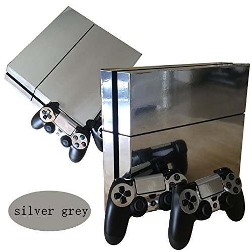 Silver Glossy Ps4 Playstation 4 Consola Design Foils Skin Sticker Decal Pegatinas + 2 Controlador Skins Set (Silver Glossy)
