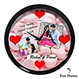 #8: Huppme™ Personalized Two Heart In Love Round Glass Wall Clock fully covered with Hard plastic and glass in front,gifts for him, gifts for her, gifts for couple, wedding gifts, marriage Gifts