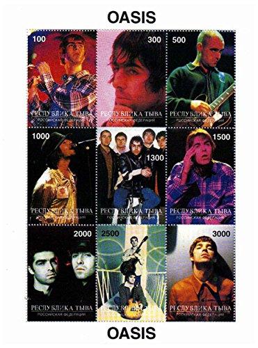 Oasis Briefmarken - Liam Gallagher, Noel Gallagher und der Rest von Oasis - Mint und postKleinBogen mit 9 Briefmarken
