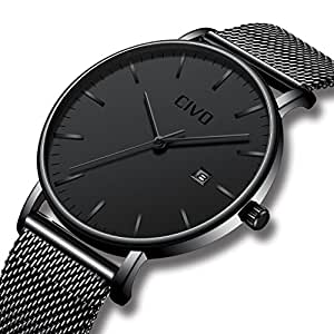 CIVO Mens Ultra Thin Watches Minimalist Wrist Watch Luxury Elegant Business Fashion Gents Watch Waterproof Date Calendar Casual Analogue Quartz Watches for Men Black (Model 1)