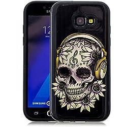 Coque Samsung Galaxy A3 2017 Antichoc [2 en 1: Interne Souple Silicone TPU + Externe Dur Plastiques], Protection Housse Mince Léger Flexible Lisse Anti Rayure, Crâne