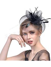 Possec Donne Moda Tè Cappello da festa con Molletta Fascia per capelli  Feather Mesh Net Fit Matrimoni Serate Cocktail Ricevimenti… 2c1163b5068e