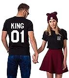 King Queen Couple Shirts Tee Shirt pour Roi Reine 100% Coton Tshirt pour Amoureux Imprimé 01 Tops à Manches Courtes Cadeau Anniversaire De Mariage 2 Pièces(BK-King-M+BK-Queen-S)