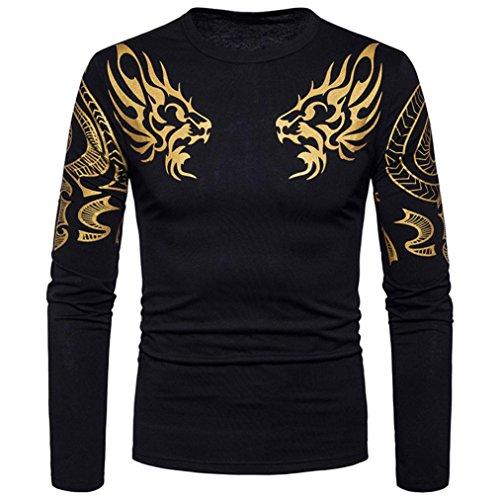 Ashop abbigliamento uomo, shirt uomo maniche lunghe, magliette a maniche lunghe t-shirt manica lunga casual da uomo (xxl, nero)