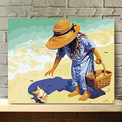 Painting-YC Malen nach Zahlen Kits für Erwachsene Anfänger Nehmen Sie die Muschel 16×20 Zoll Holzrahmen auf DIY Leinwand Ölgemälde