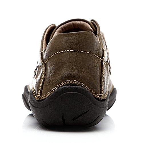 Jamron Uomo Comfort Vera Pelle All'aperto Scarpe da Ginnastica Flessibile Suola di Fivefingers Scarpe da Trekking Cachi