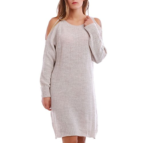 La Modeuse - Robe pull à col rond Beige