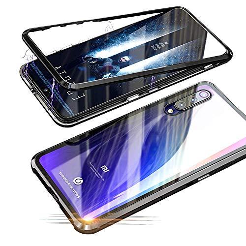 Alsoar Funda Compatible para Xiaomi MI 9 SE Adsorción Magnética 360 Grados Protección Carcasa Delantera y Trasera Vidrio Templado Metal Marco Delgada Bumper Cubierta Case (Negro)