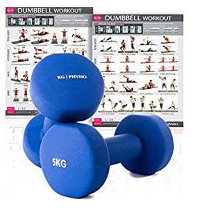 Premium quality dumbells for women and men, sold as a set of 2 (FREE BONUS A3 WORKOUT POSTER) *Anti-Roll* design ideal for home weights workout (Dark Blue (2) x 5 Kg)