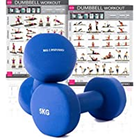 KG Physio Premium quality dumbells for women and men, sold as a set of 2 (BONUS A3 WORKOUT POSTER INCLUDED) *Anti-Roll* design ideal for home weights workout