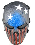 Full Face Airsoft Masque Imprimé étoiles facile haleine voir par le Masque de paintball avec maille métallique protection des yeux, Red