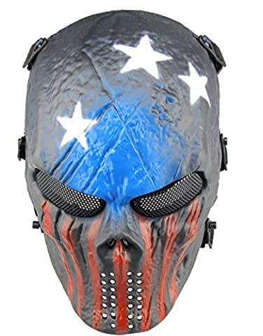 Masque Visage complet Airsoft Star Imprimé haleine facile Voir à travers Paintball Protection Masque avec yeux en maille métallique, rouge