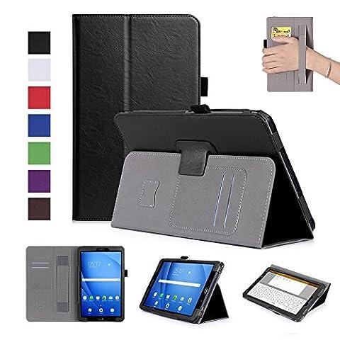 ISIN Housse pour Tablette Série Étui Premium PU avec Support pour Samsung Galaxy Tab A 10.1 de 10,1 pouces SM-T580 T585 Tablette Avec Sangle Velcro et Slot Cartes (Noir)