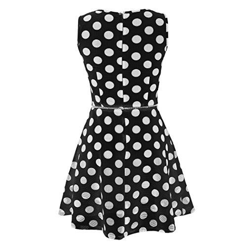 CRAVOG Damen Partykleid Abendkleid Sommerkleid Kleid süße ärmel Sundress Punkt Hohle Beiläufiges Party-Schlank A-Linie Schwarz