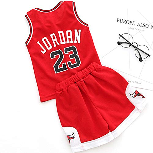 unbrand Kinder Junge Herren NBA Michael Jordan # 23 Chicago Bulls Retro Basketball Shorts Sommer Trikots Basketballuniform Top & Shorts Basketball Anzug