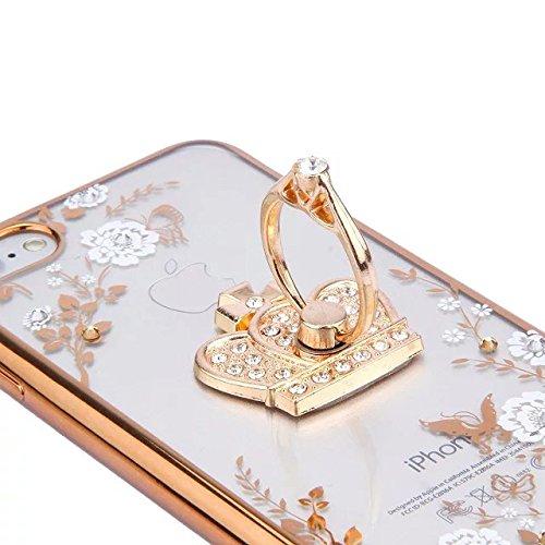 Etsue Glitzer Silikon Schutz HandyHülle für iPhone SE/iPhone 5S Strass TPU Hülle, Luxus Electroplate Schmetterling Blume Gold Rahmen [mit Ring Halter Ständer] Glitzer Glanz Diamant Silikon Handytasche Weiß Blume,Krone,Gold