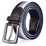 ITIEZY Elastischer Stoffgürtel Stretchgürtel Geflochtener Stretchen Gürtel für Damen und Herren, Gr.-Länge: 110cm (43.30 Zoll), Blau Grau Weiß 2