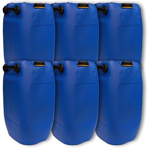 Lot de 6 bidons – Jerrican 60 L, 3 poignées, Bleu HDPE ouverture DIN 71 qualité alimentaire (6x22047)