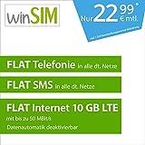 winSIM LTE All 10 GB Allnet Flat [SIM, Micro-SIM und Nano-SIM] 24 Monate Laufzeit (FLAT Internet 10 GB LTE mit max. 50 MBit/s mit deaktivierbarer Datenautomatik, FLAT Telefonie, FLAT SMS und FLAT EU-Ausland, 22,99 Euro/Monat)