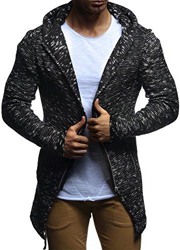 LEIF NELSON Herren Jacke Strickjacke Kapuzenpullover Hoodie Pullover Sweatjacke Sweatshirt Freitzeitjacke LN20740; Gr__e M, Schwarz