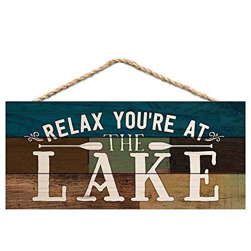 Monsety Home Deko Schild Relax Sie am See Kanu Paddel 25x 13cm Schild aus Holz Wandschild Geschenk