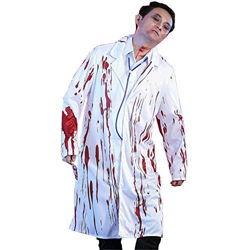 Paar Doktor Kostüm Krankenschwester - Hzjundasi Herren Damen Blutiger Zombie-Chirurg und Krankenschwester-Paar-Abendkleid-Halloween-Erwachsener Doktor Kostüm