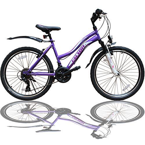 Talson 26 Zoll Mountainbike Mädchen Kinder Fahrrad mit Gabelfederung & Beleuchtung 21-Gang Lila 26AuroraPurple
