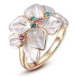 Beloved ❤ Parure Donna con Cristalli Naturali - Anello, Girocollo con Ciondolo e Orecchini Flower MOP - Varie Misure - Placca