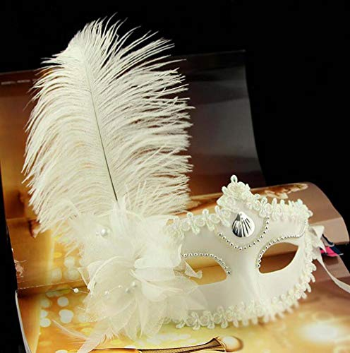 Deluxe Erwachsene Königin Kostüm Rote Für - Halloween Maske, Maskerade Adult Female Half Face Prinzessin Side Flower Feather Party Leistungsmaske (Color : White)