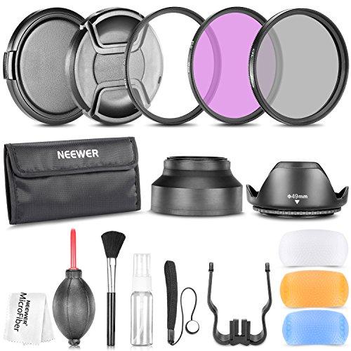 Neewer® 49MM Professionelle Zubehör-Set für Canon EOS 400D / Xti; 450D / Xsi; 1000D / XS; 500D / T1i; 550D / T2i; 600D / T3i; 650D / T4i; 700D / T5i; 100D, 1100D; Nikon Sony Pentax Samsung Fujifilm und andere DSLR Kameraobjektive mit Filtergewinde 49MM - Inklusive: Filter Kit (UV, CPL, FLD) + Tragetasche + Gegenlichtblenden (Tulip und zusammenklappbare) + Blitz-Diffusor Set + Objektivdeckel (Klemm-Center und Schnapp ) + Kappe Hüter Leine + Deluxe Reinigungsset + Mikrofaser Reinigungstuch (Canon T5i Für Objektiv Filter)