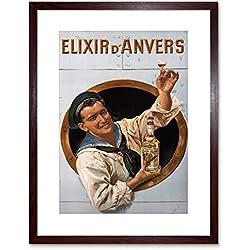 The Art Stop AD Liqueur Elixir D'ANVERS Alcohol Herbal Antwerp Framed Print F12X2347
