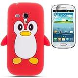Semoss 2 in 1 Teléfono Accesorios - Funda de pingüino Silicona Carcasa Cover con protector de la...