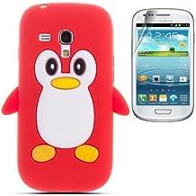 Semoss 2 in 1 Teléfono Accesorios - Funda de pingüino Silicona Carcasa Cover con protector de la pantalla para Samsung Galaxy Trend Plus S7580 / Galaxy S Duos 2 S7582 (Rojo)
