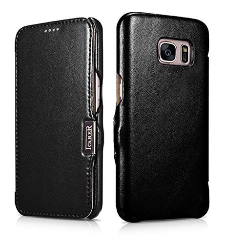 Luxus Tasche für Samsung Galaxy S7 (5.1 Zoll) / SM-G930 / Case Außenseite aus Echt-Leder / Etui Innenseite aus Kunst-Leder / Modell: Luxury / Schutz-Hülle seitlich aufklappbar / ultra-slim Cover / Farbe: Schwarz