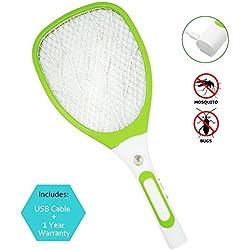 Samoa Matamoscas eléctrico mosca raqueta mosquitos moscas USB con luces con nuevo mango (verde)