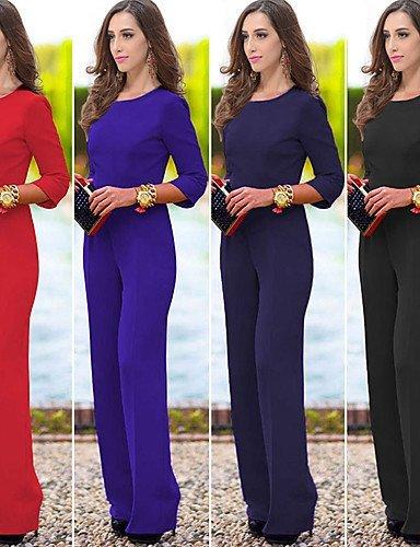 GSP-Combinaisons Aux femmes Manches Longues Sexy / Décontracté Acrylique Moyen Non Elastique navy blue-2xl