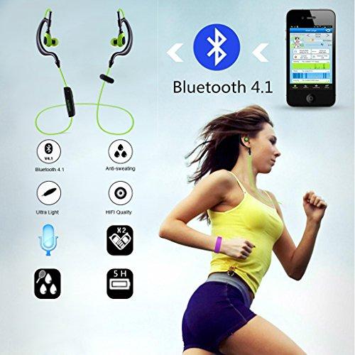 AUSDOM S09 In Ear Kopfhörer Bluetooth Sport Stereo Headset Ohrhörer Wasserdichte mit Mikrofon für iPhone, Android Smartphone - 6