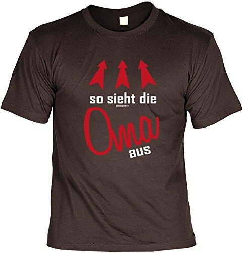 Oma/Familien-Spaß/Fun-Shirt/Rubrik lustige Sprüche: so sieht die Oma aus geniales Geschenk Braun